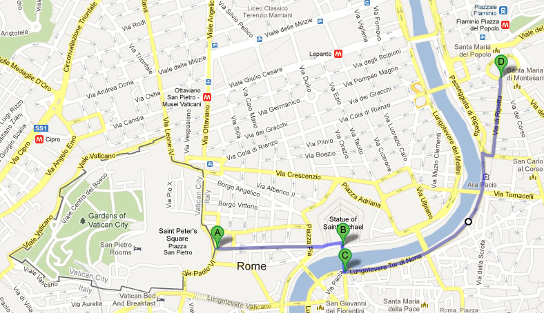 Rome Google Map – foot tour day 1 – MadManBlog
