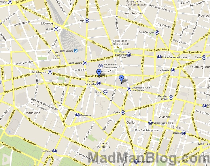 Google Map Printemps And Galeries Lafayette Markers MadManBlog - Lafayette map