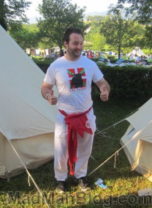 Me preparing to run with the bulls in Pamplona 2013