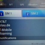 Dual Sim Card Screen Closeup