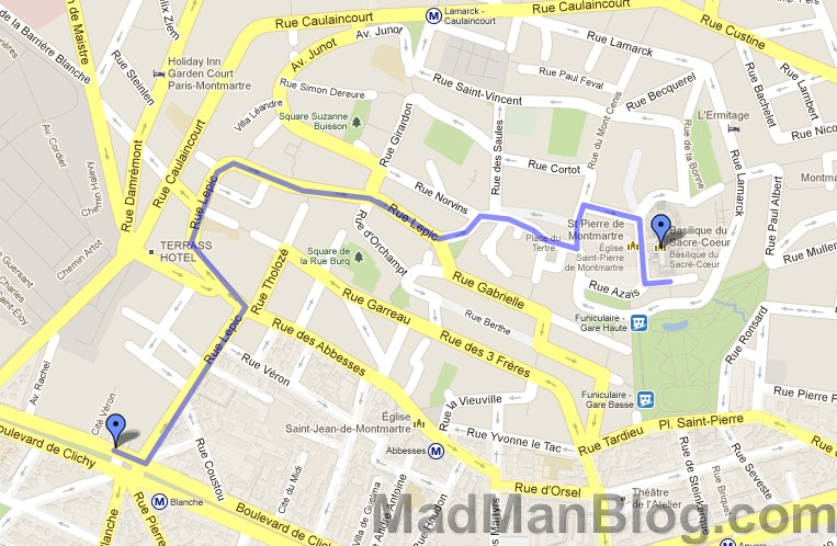 Google Map – Moulin Rouge to Montmartre Walk – MadManBlog on mapquest walking maps, disney walking maps, google safety, google fitness,