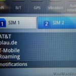 Dual Sim Card Screen Closeup